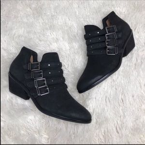 Dr. Scholl's Black Leather Multi Strap Ankle Boot